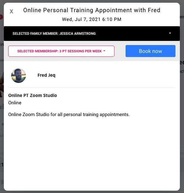 online personal training appointment