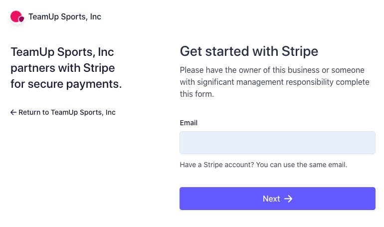 teamup page on stripe