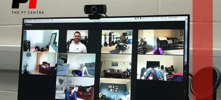 A photo of a PT's screen showing clients in an online class