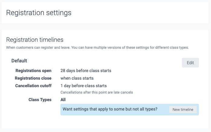 the class registration settings