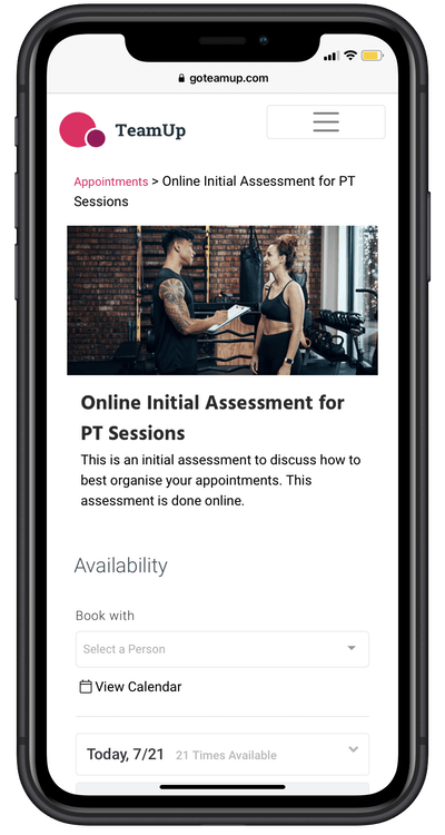 appointment type in member app