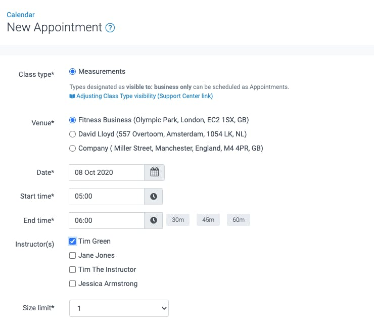 image of the new appointment tool in teamup