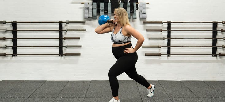 Jen Johnson working out with a kettlebell