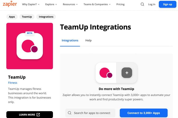 teamup integration in zapir