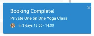 booking complete for yoga appointment