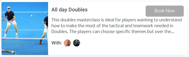 Boom Tennis Coaching's doubles masterclass booking page