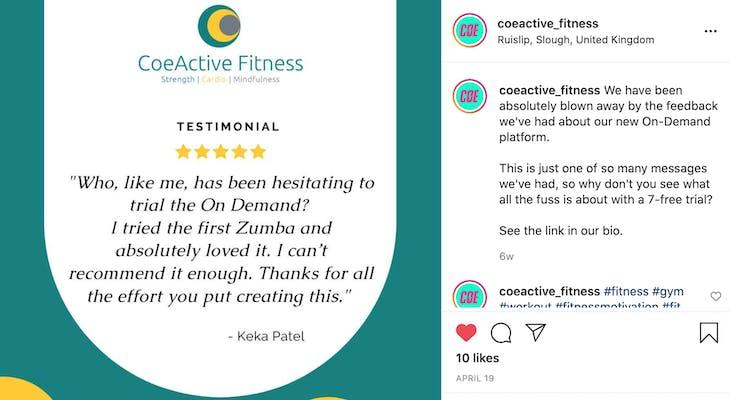 coeactive fitness instagram screenshot