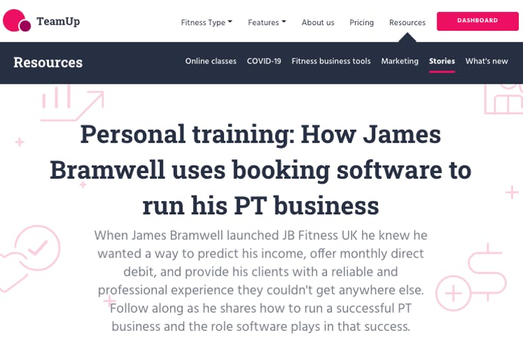 personal training case study on teamup