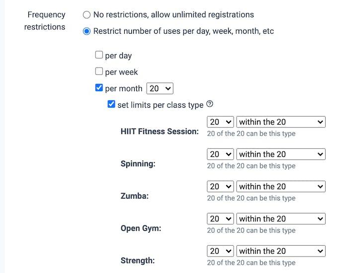 settings in memberships in teamup