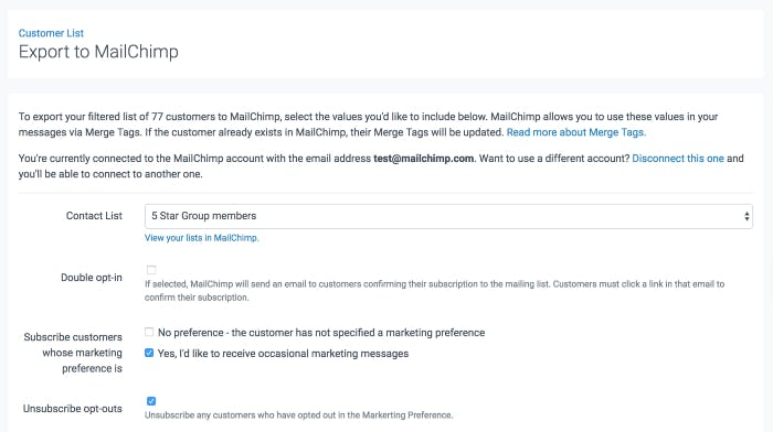 image of customer list export to MailChimp