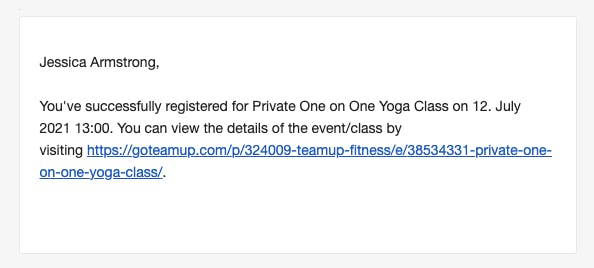 email confirmation for yoga appointment
