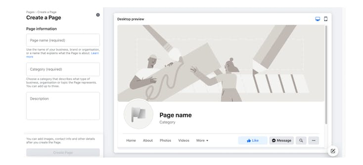 """The """"Create a Page"""" page on Facebook"""