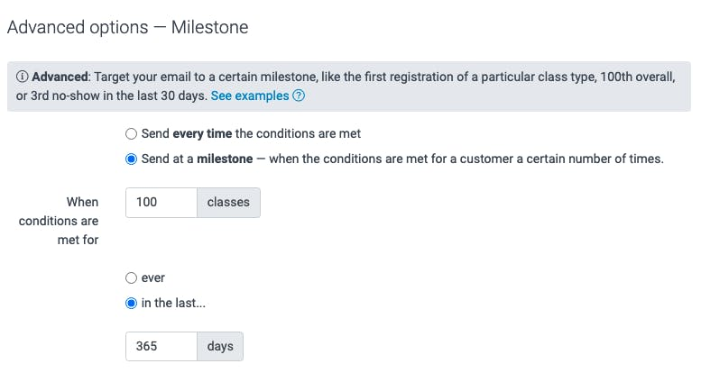 image of the advanced options to create a milestone email