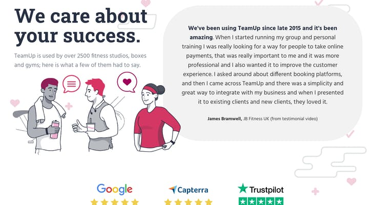 teamup testimonials page