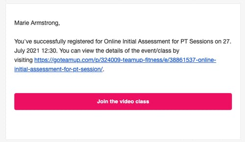 confirmation in email