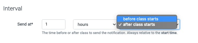 Image of interval time to send class notification