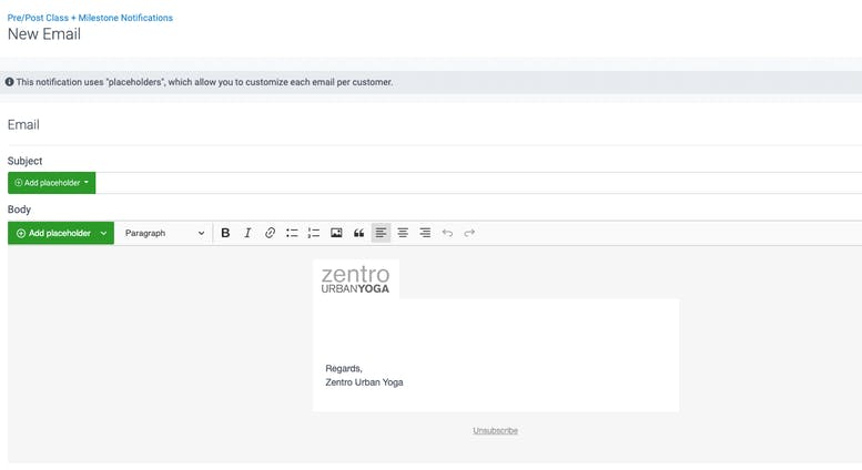 image of a blank milestone email template