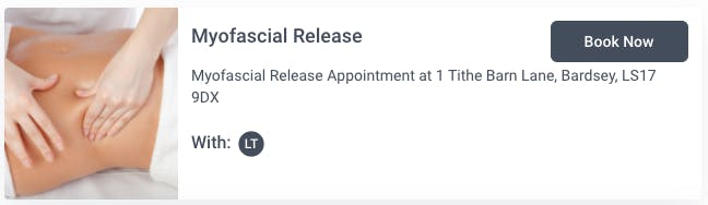 Booking page for myofascial release with Louisa Thomas