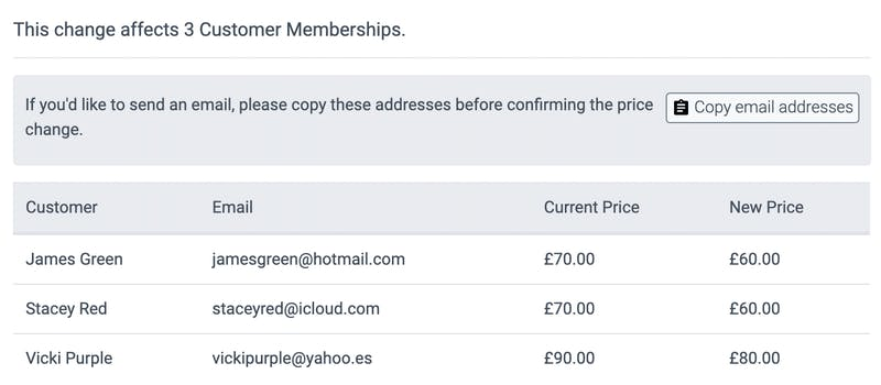 image of the new confirmed customer memberships prices