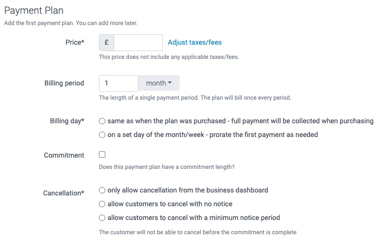 payment plan screenshot in teamup