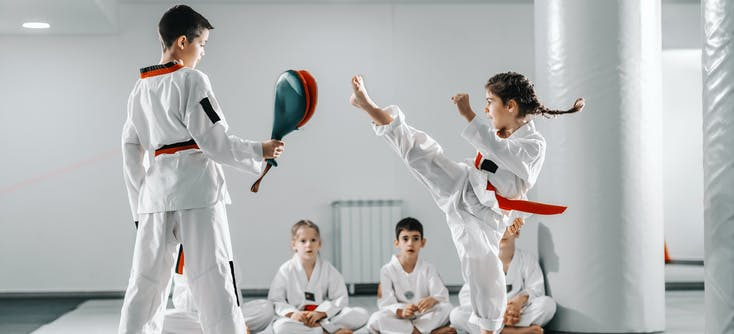 martial arts students in a class
