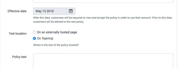 image of creating a policy within teamup