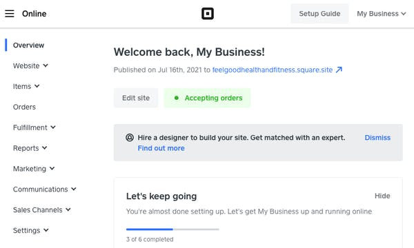 The set-up guide section in the Square dashboard