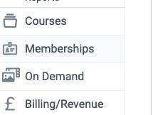 Memberships tab in teamup