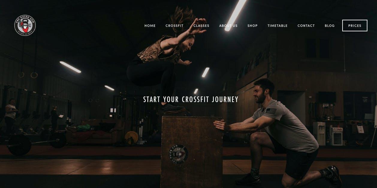 A screenshot of the Paleo Gym website