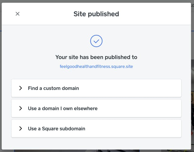 Confirmation that your site has been published