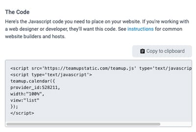The necessary javascript code for a website developer to use