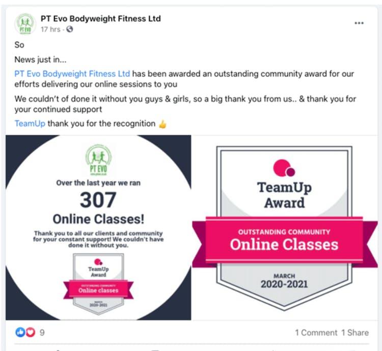 teamup online class badges