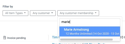 image of the customer membership filter in the activity feed