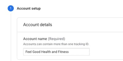 Part on of setting up your Google analytics account