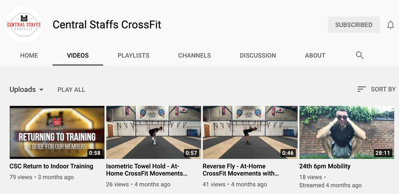 image of central staffs crossfit youtube page
