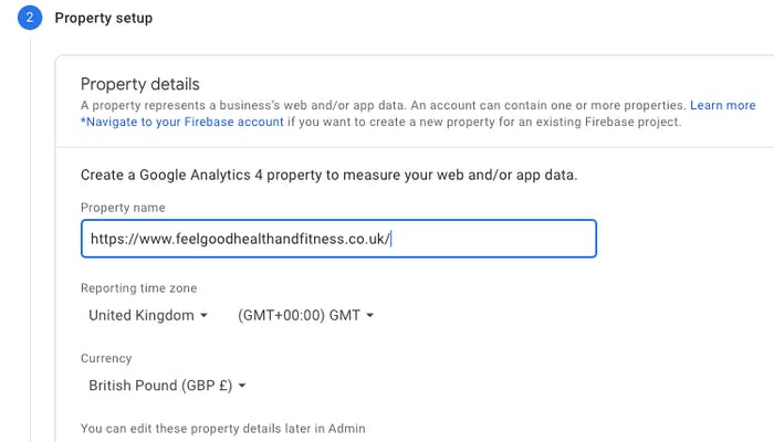 Website property details page on setting up a Google analytics page