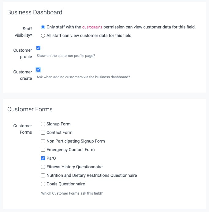 business dashboard section
