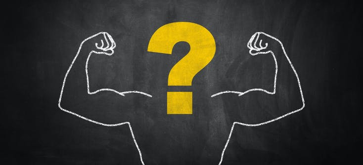 Gym management questions stylised image with a chalk board picture of muscled body and question mark for head