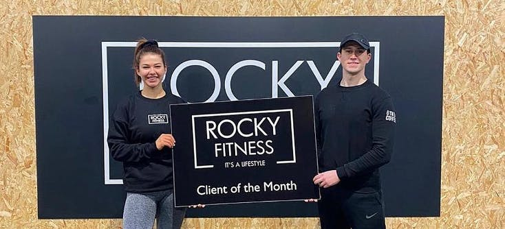 rocky fitness client of the month two clients
