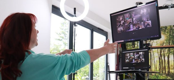 image of karen grinter giving an online webinar