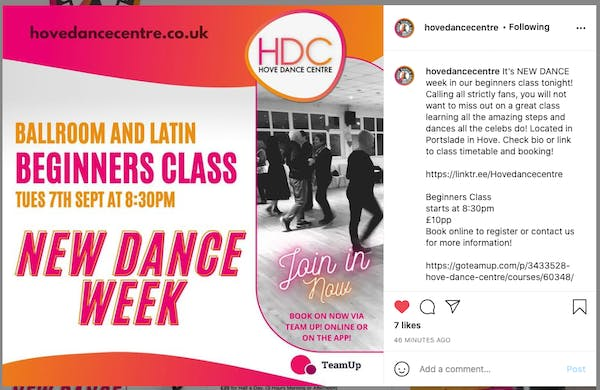 An Instagram post by Hove Dance Centre