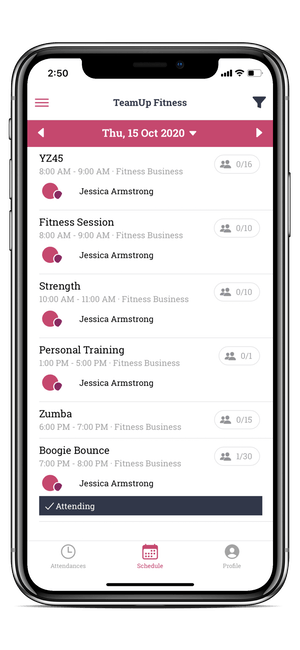 image of the member app class list page
