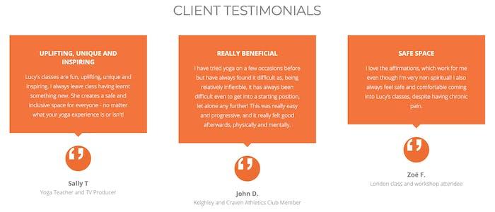 lucyoga client testimonials on her website