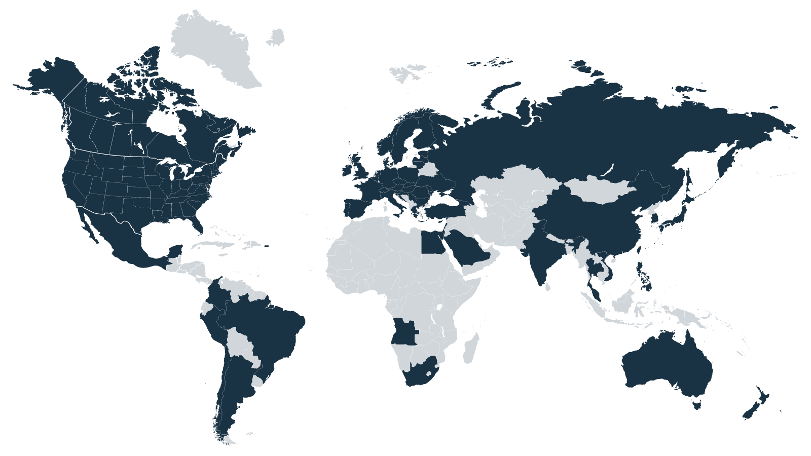 World map: Teckro is used in clinical research sites around the world.