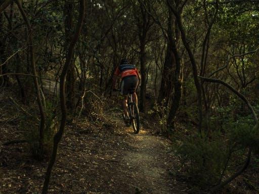 A man cycling in Collserola, near Barcelona