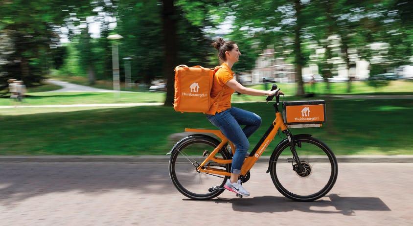 Thuisbezorgd op de fiets