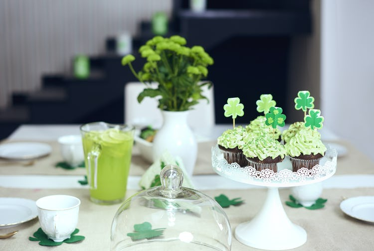 A tablescape of sweet St. Patrick's Day treats for a sober celebration.