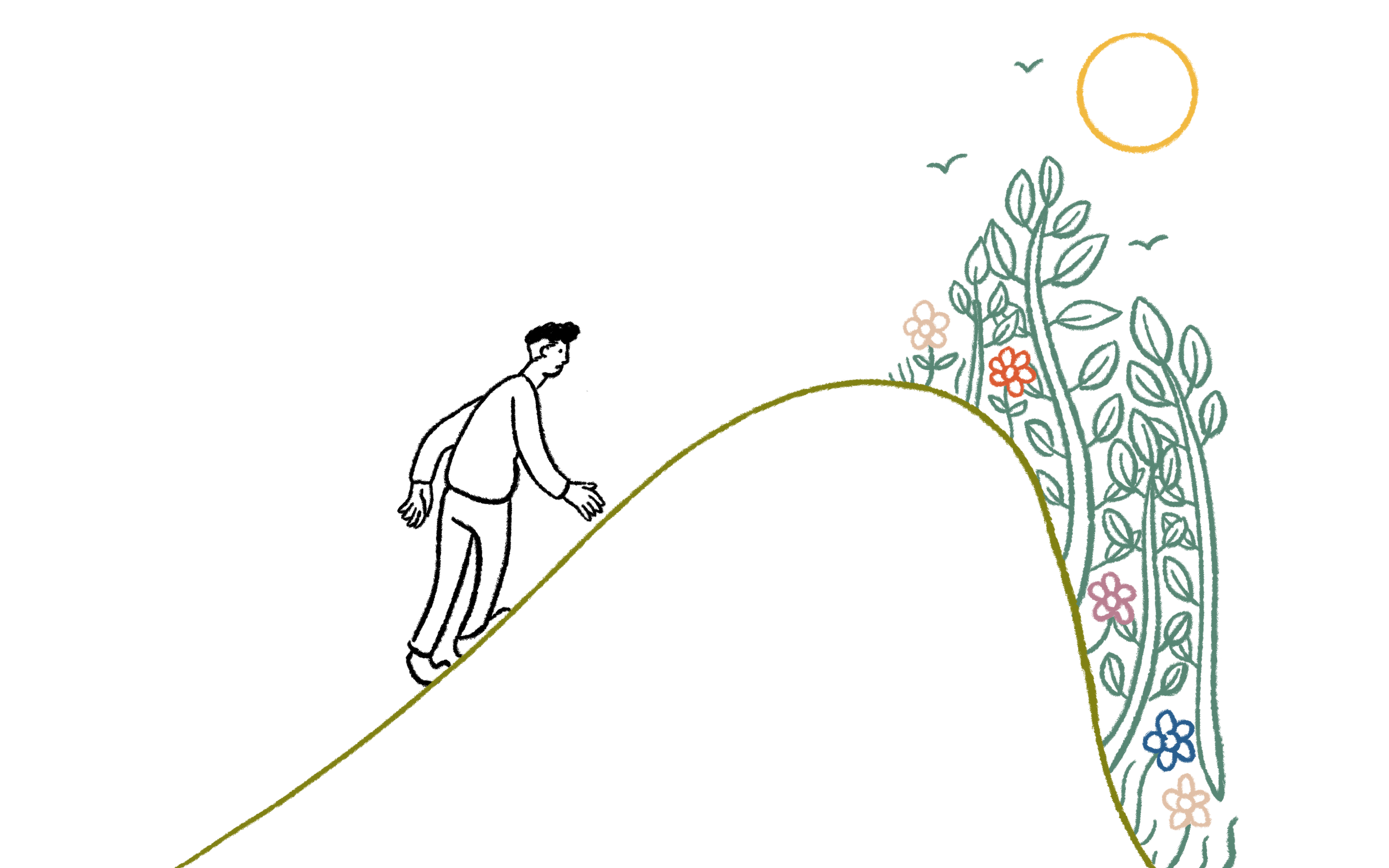 illustration of a man climbing up a hill with a garden on the other side