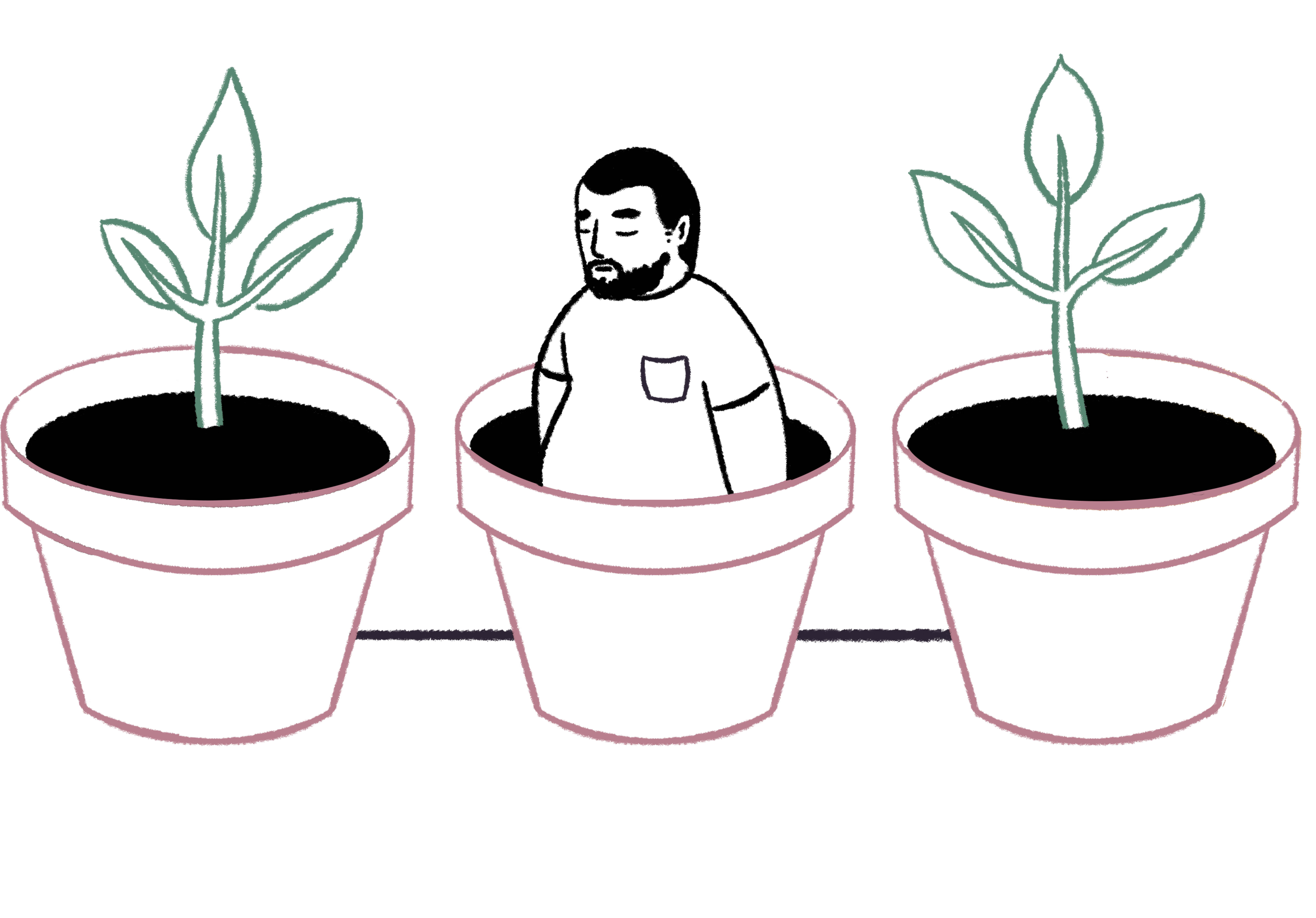 illustration of three potted plans with a man growing out of the middle one