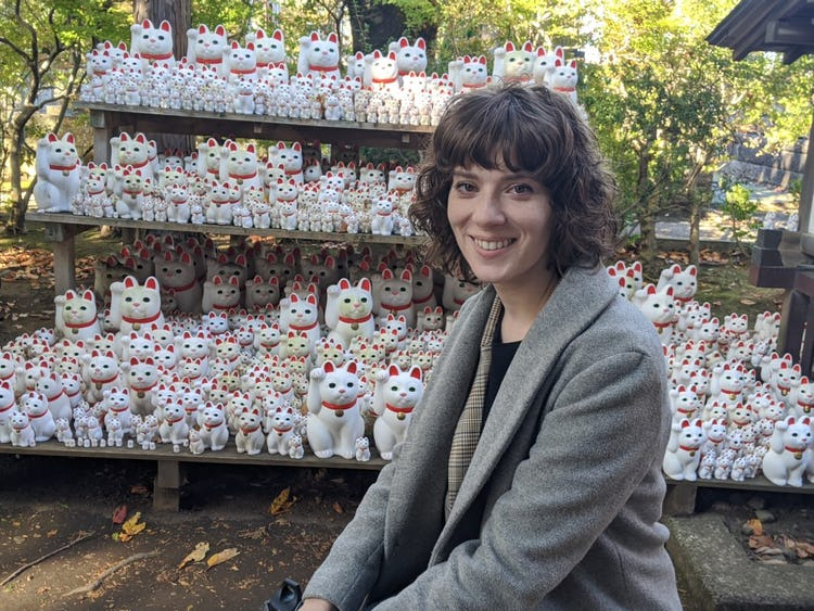 Tabitha Vidaurri smiling on her sober trip to Japan.